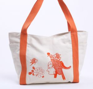 Canvas Bag with Webbing Handle, Canvas Zipper Bag, Canvas Beach Tote Bag pictures & photos