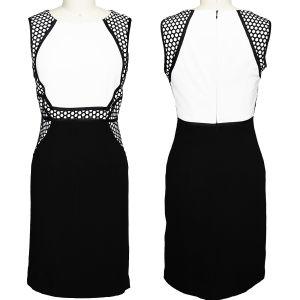 Elegant Black Grid Summer Dress for Office Ladies (1-DF04-630)