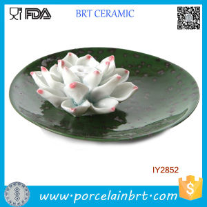 Lotus Flower Ceramic Green Circular Tray Articles Handicraft pictures & photos