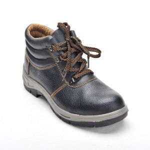 Safety Shoes with Steel Toe and Steel Plate PU Outsole Black and Grey Outsole