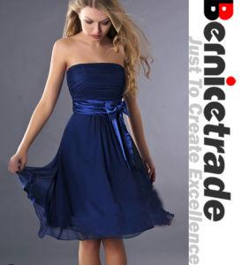 Short Navy Strapless Women Bridesmaid Dresses