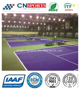Shock-Absorption Rubber Tennis Court of Spu Coating pictures & photos