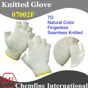 7g Natural Color Polyester/Cotton Knitted Fingerless Glove with Yellow Over Lock pictures & photos