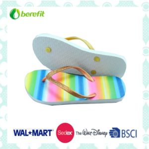 PVC Straps and Glitter Decoration, PE Sole, Flip Flops pictures & photos