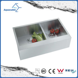 Handmade Apron Double Bowl Kitchen Sink with Drainboard (ACS3119A2Q) pictures & photos