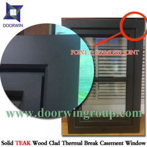 Seamless Joints Aluminum Window with America Oak Wood Cladding, Convenient Removable Fly Screen Outswing Window pictures & photos