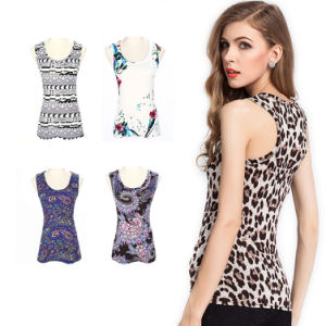 Women Printed Blouse Casual Slim Tank Top pictures & photos
