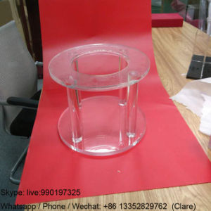 Round Plexiglass Display Table with Laser Engraved Logo pictures & photos