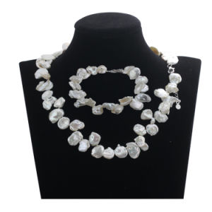 Snh 14mm Keshi Natural Bridal Fresh Water Pearl Jewelry Set