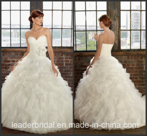 Cascading Ruffles Bridal Wedding Dress Organza Vestidos Wedding Ball Gown W15230 pictures & photos