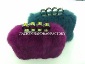 Italy Design Real Rabbit Fur Ladies Clutch (F0873)