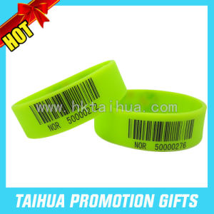 Hot Sale Barcode Silicone Bracelet Printed Rubber Wristband (TH-08555) pictures & photos
