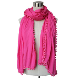 Lady Fashion Viscose Cotton Polyester Silk Knitted Shawl Scarf (YKY4375) pictures & photos