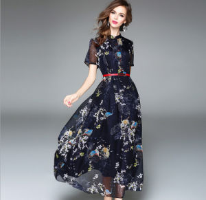 Summer Beach Long Printed Short Sleeves Chiffon Big Skirt Lady′s Dress pictures & photos