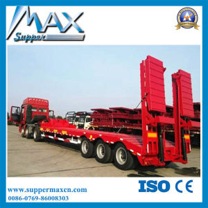 3 Axles Heavy Equipment Transport Semi Trailer with Foldable Ladders pictures & photos