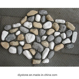 Mixed Pebble on Mesh Natural Jade Stone Tile pictures & photos