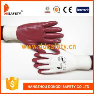 Ddsafety 2017 White Nylon Orange Nitrile Gloves pictures & photos
