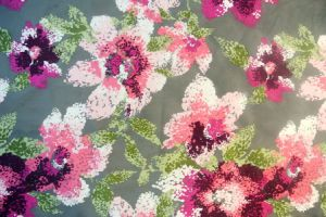 2016 Poly Velvet Floral Printed Knitted Fabric Textile pictures & photos
