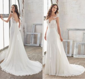 2018 Lace Beach Bridal Dress Mermaid Sheer Straplswedding Gown Lb118 pictures & photos
