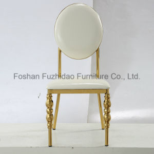 Graceful Metal Stainless Steel Round Back Wedding Chair with White PU Cushion pictures & photos