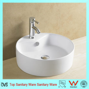 Round Ceramic Art Basin with Faucet Hole pictures & photos