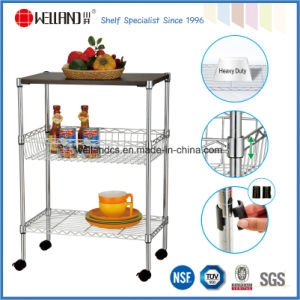 3 Tiers Chrome Metal Wire Kitchen Cart with MDF Board pictures & photos