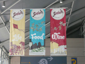 Commercial Indoor and Outdoor Silk Fabric Banner with Graphic Printing pictures & photos