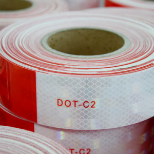 "2"" X 150′ DOT Class 2 Reflective Tape Safety Tape Red and White pictures & photos"