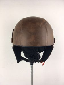 Open-Face Leather Helmet for Motorcycle with Neckerchief. DOT Approved pictures & photos
