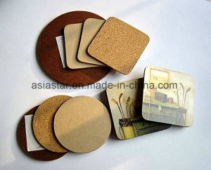 Round Simple Printing Cork Coaster pictures & photos