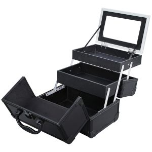 Portable Makeup Train Case Aluminum Cosmetic Case with Mirror pictures & photos