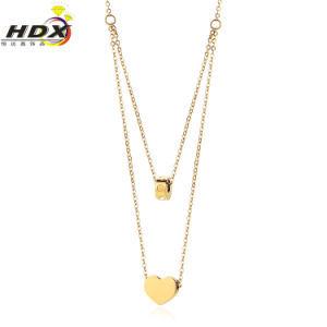 Popular Women Jewelry Double Chain Heart Shaped Fashion Necklace pictures & photos