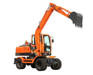 Small Wheel Digging Machine with Dozer Blade pictures & photos