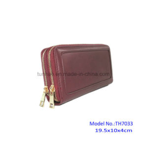 Smooth Chocolate PU Leather Double Zip Around Wallets Clutch