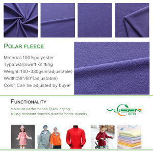DTY 100% Polyester Plain Dyed Polar Fleece Fabric pictures & photos