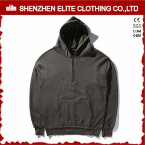 Plain Embroidery Blank Pullover 100% Cotton Hoodie Black (ELTHSJ-1175) pictures & photos