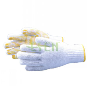 Hot Sell Top Quality White Gloves Kintted by Cotton Coated with PVC Dots pictures & photos