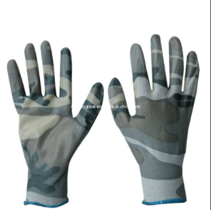 Camouflage PU Coated Gloves (5531) pictures & photos