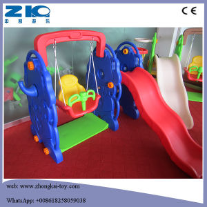 Indoor Playground Bear Plastic Slide and Swing Set for Kids pictures & photos