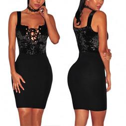 Fashion Women Sexy Slim Velvet Bandage Bodysuit Slip Dress pictures & photos