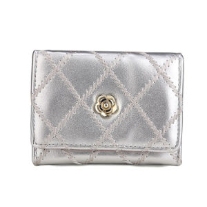 Silver Metallic Quilted Square Trifold Girls Card Wallet