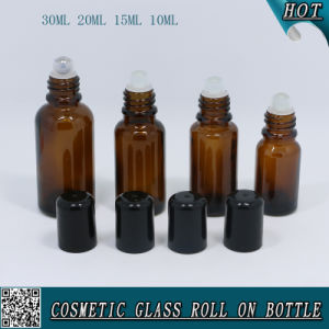 30ml 20ml 15ml 10ml Amber Glass Roll on Bottle with Roller pictures & photos
