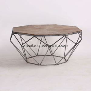 Simple Style Stainless Steel Recycled Wood Coffee Table Wood and Metal pictures & photos
