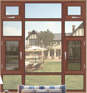 Latest Wood Grain Finish Aluminum Casement Window with Mosquito Nets pictures & photos