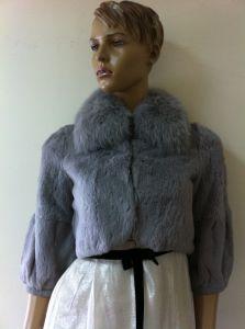 Ladies′ Rabbit Hair Jacket, Fox Fur Collar, Women Clothes pictures & photos