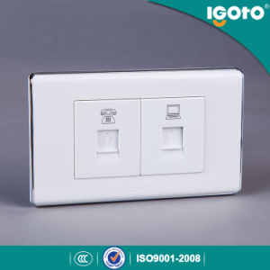 118*74mm White Color Tel Socket with Data Socket pictures & photos