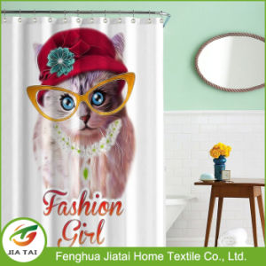 Pretty Custom Cheap Fabric Cute Cat Shower Curtain pictures & photos