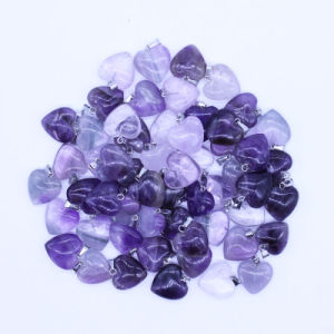 16mm Amethyst Crystal Stone Love Heart Charms Pendants Fashion Necklace Jewelry pictures & photos