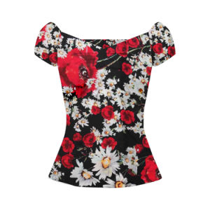 2017 Blouse Women Summer Boat Neck Blouse Designs Maxi Size pictures & photos