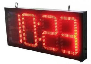 Indoor RF Remote Control 4′′ Digital Red LED Time and Temperature Signs 6 Digits Outdoor LED Clock Time Date Temperature Sign pictures & photos